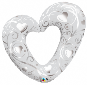 Hearts & Filigree Pearl White Super Shape Foil Balloon